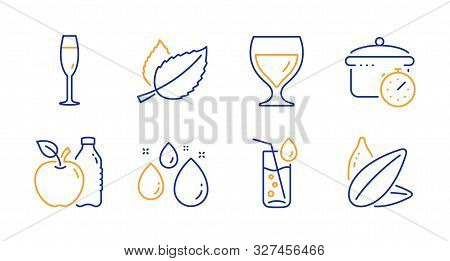 Mint Leaves, Wine Glass And Boiling Pan Line Icons Set. Water Glass, Apple And Water Drop Signs. Sun