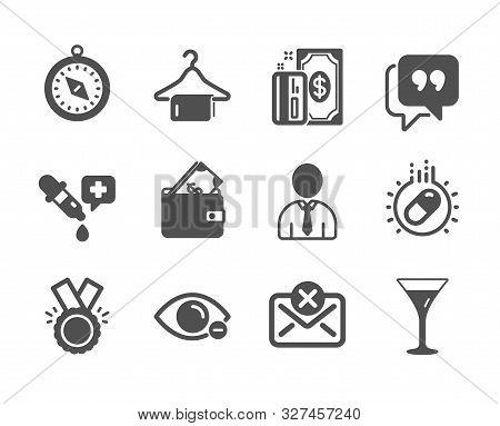 Set Of Business Icons, Such As Martini Glass, Wallet, Payment, Chemistry Pipette, Quote Bubble, Hono