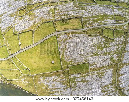 Aerial View Of Farm Fields In Inisheer Island