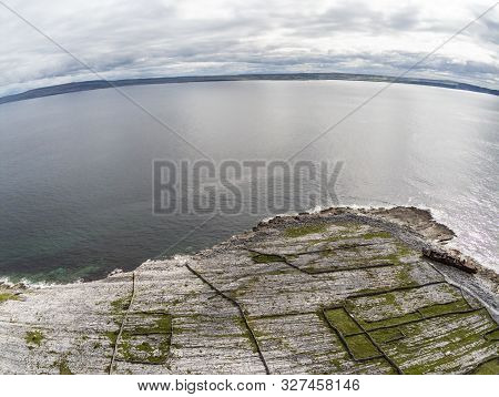 Aerial View Of Beach And Farm Fields In Inisheer Island