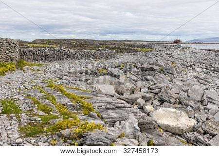 Trail To Plassey Shipwreck And Rocks Wall In Inisheer Island