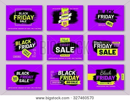 Black Friday Sale Promotion Posters Set. Weekend Discount Proposition. Internet Advertising Layouts