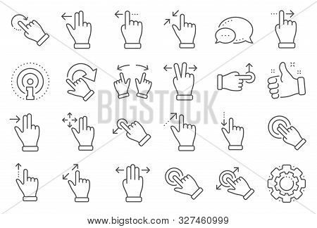 Touchscreen Gesture Line Icons. Hand Swipe, Slide Gesture, Multitasking Icons. Touchscreen Technolog