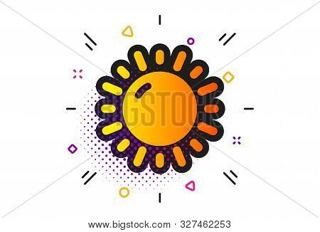 Summer Sun Sign. Halftone Circles Pattern. Sunny Weather Forecast Icon. Classic Flat Sunny Weather I