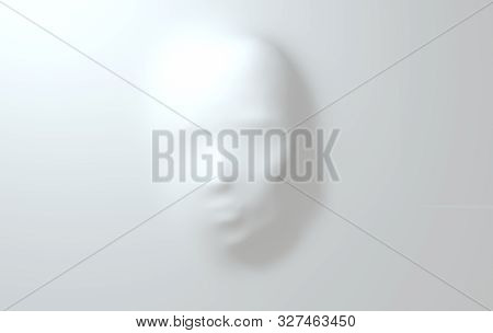 Beautiful Face Pressing Through Elastic Fabric. Hidden Woman's Face Background 3D Render. Mysterious