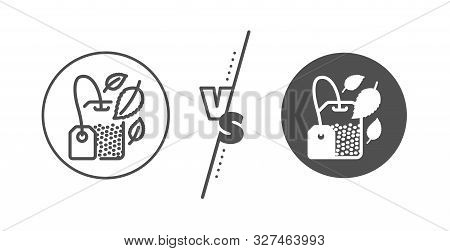 Fresh Herbal Beverage Sign. Versus Concept. Mint Tea Bag Line Icon. Mentha Leaves Symbol. Line Vs Cl