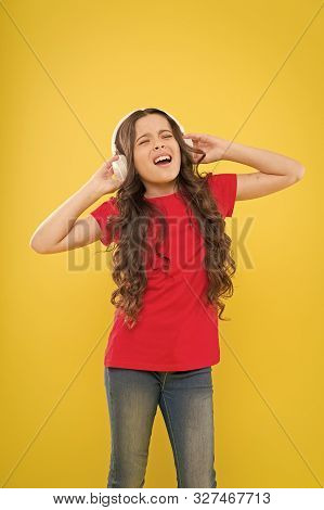 Sweet Song So Start The Music. Cute Song Singer On Yellow Background. Little Girl Singing Song Playi