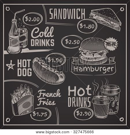 Fast Food Menu. Coffee, Burger And Hotdog, Donut And Fries, Ice Cream And Cola, Sandwich. Chalk Draw