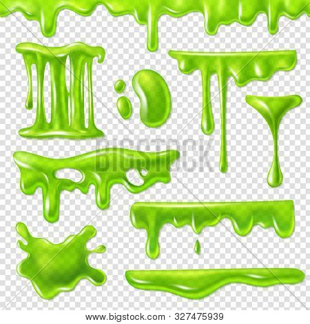 Realistic Green Slime. Slimy Toxic Blots, Goo Splashes And Mucus Smudges. Halloween Liquid Decoratio