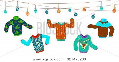 Ugly Christmas Sweater. Dancing Knitting Sweaters, Xmas Jumpers Vector Winter Holiday Party Fashion