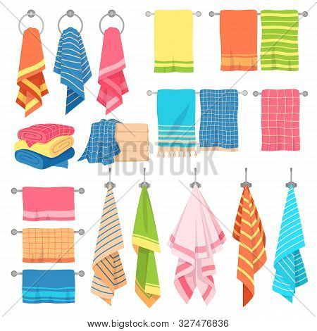 Hanging Towels. Hang Fabric Soft Color Fresh Textile Kitchen Or Bath Towel Vector Isolated Set With