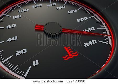 Engine Temperature Warning Light On Car Dashboard. 3d Rendered Illustration.