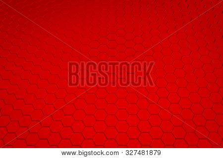 Red Hexagon Pattern - Honeycomb Concept. 3d Rendering.