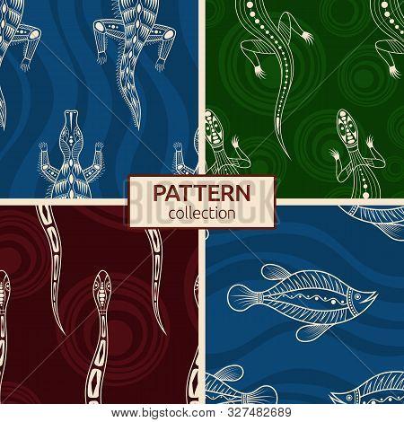 Set Of Four Seamless Fashion Colorful Australian Animals Patterns. Australian Art. Aboriginal Painti