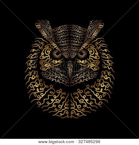 Hand Drawn Eagle Owl. It Can Be Used For Print Design. Vector Illustration Of Eagle Owl