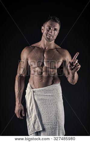 Bath Is My Luxury. Sexy Man With Athletic Torso Wearing Bath Towel. Muscular Sportsman Showing Six P