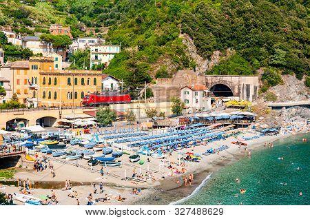Monterosso Al Mare, Italy - September 02, 2019: The Famous Landscape Of Monterosso Al Mare. Green Mo