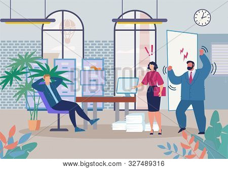 Evil Boss Chief And Shocked Executive Manager Shouting In Lazy Worker Procrastinating, Wasting Time,