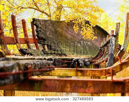 Ruins Of The Chute Of The Old Abandoned Luge Track Made With Steel Framework And Wooden Covering Clo
