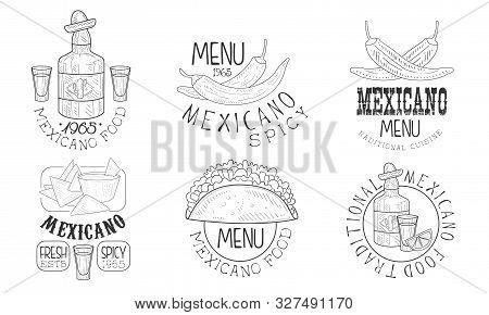 Mexicano Food Hand Drawn Retro Labels Set, Traditional Spicy Menu Monochrome Badges Vector Illustrat