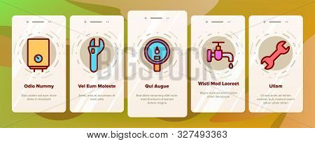 Plumbing Fixtures Onboarding Mobile App Page Screen Vector Icons Set Thin Line. Faucet And Mixer, Va