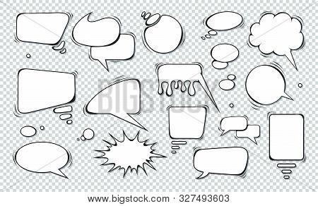 Comic Speech Bubbles. Set Of Speech Bubbles. Empty Dialog Clouds. Illustration For Comics Book, Soci