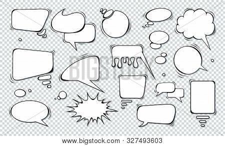Comic Speech Bubbles. Set Of Speech Bubbles. Empty Dialog Clouds. Illustration For Comics Book, Soci