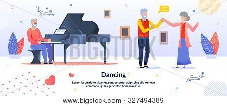 Dancing Party, Festival Musician Entertainment For Elderly People Friends Citizen. Senior Man Playin