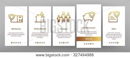 Insurance Onboarding Mobile App Page Screen Vector Icons Set Thin Line. House Insurance From Fire An