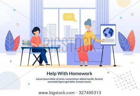 Grandparents Help Grandchild With Homework Cartoon Poster. Happy Relatives Relationships. Grandma Te
