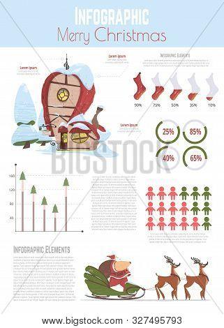Merry Christmas Cartoon Vector Infographics Banner, Poster Template. Statistics Diagrams, Data Graph