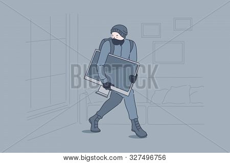 Burglary, Crime, Robbery, Theft Concept. Robber Stealing Tv Set From Apartment, Lawbreaker, Masked T