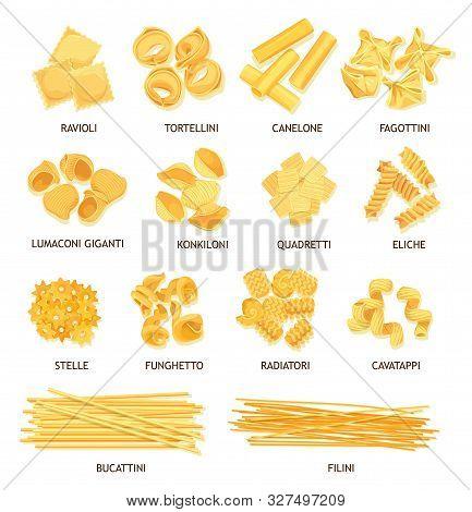 Pasta, Macaroni And Spaghetti Of Italian Food Vector Design. Fusilli, Tortellini And Ravioli, Cannel