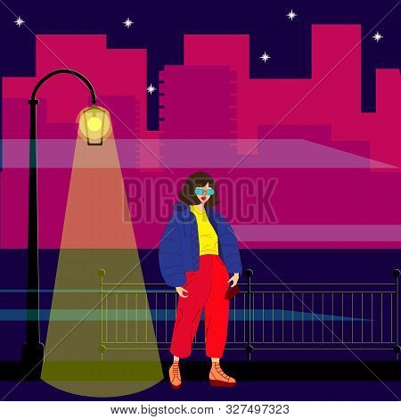 Modern City, Great Design For Any Purposes. Futuristic Night City, Streetlight. Vector Town City Str