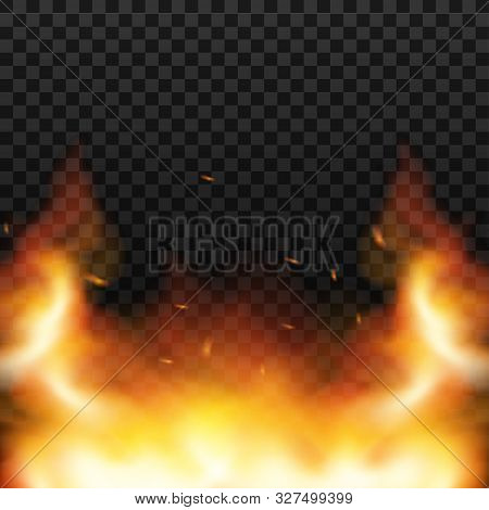 Red Fire Sparks Vector Flying Up. Burning Glowing Particles. Flame Of Fire With Sparks In The Air Ov