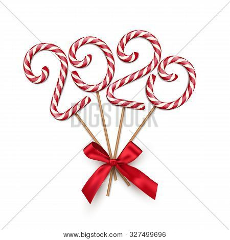 Christmas Candy Realistic Vector Illustration. Striped Caramel Treat Shaped In 2020 Number. Deliciou
