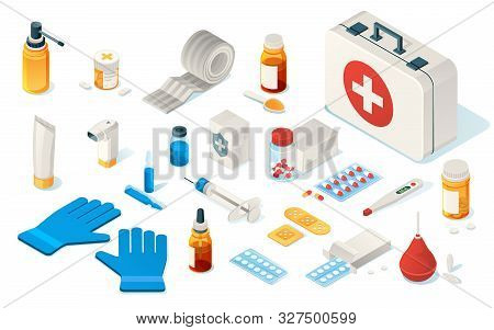 Set Of Isolated First Aid Kid Tools Or Items Of Medical Emergency Box. Isometric Icon For Doctor, Ho