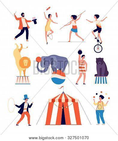 Circus Actors. Clown And Magician, Juggler And Balancer, Animal Trainer And Strong Man. Shapito Circ