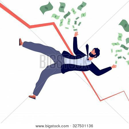 Financial Crisis Concept. Businessman Falling Down With Financial Chart And Losing Money. Bankruptcy