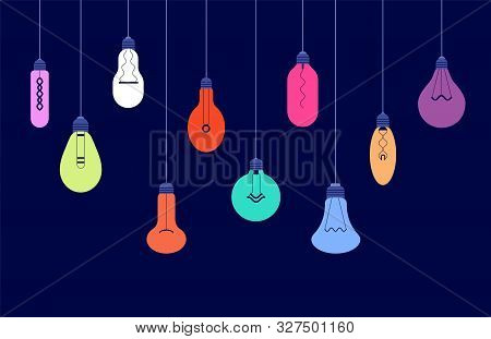 Hanging Light Bulbs. Creative Ideas And Lighting Energy Technology Concept With Glowing Lightbulbs V