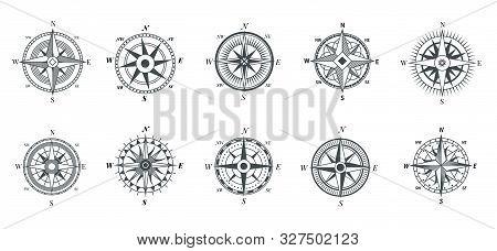 Vintage Compass. Nautical Wind Rose, Compasses For Travel Map, Vintage Marine Navigation Arrow Symbo
