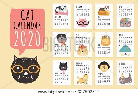 Cat Calendar. 2020 Monthly Planner With Cute Cartoon Cats. Funny Kittens Design Vector Calendar Temp