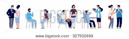 Communication Concept. Conference People. Vector Flat Characters, Discussing Persons With Phone, Boo
