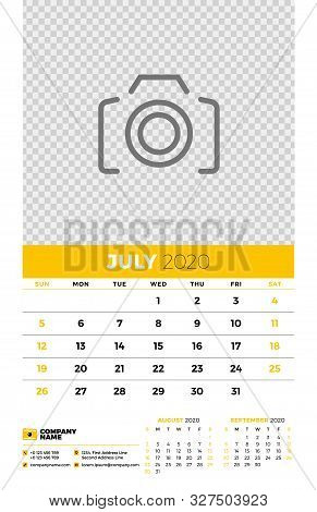 Wall Calendar Planner Template For July 2020. Week Starts On Sunday. Typographic Design Template. Ye