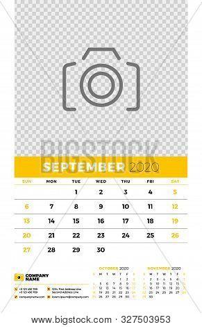 Wall Calendar Planner Template For September 2020. Week Starts On Sunday. Typographic Design Templat