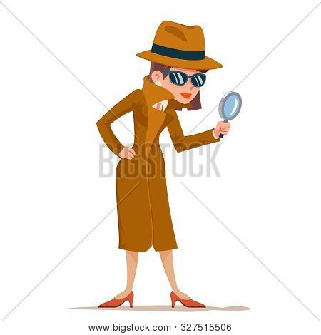 Detective Woman Snoop Magnifying Glass Tec Search Help Noir Cartoon Female Cartoon Character Design