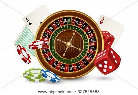 Casino Vector Concept. Casino Roulette, Chips, Dice And Cards Isolated On White Background. Illustra