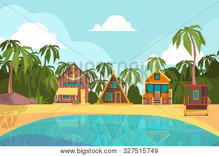 Bungalow Seaside. Summer Beach With Tropical Little House Ocean Hotel Paradise Vector Background. Se