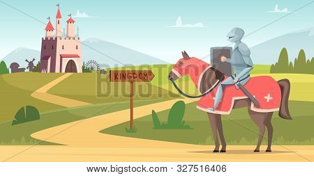 Medieval Knight Background. Historical Armored Characters Outdoor Castle Vector Cartoon Scene. Castl