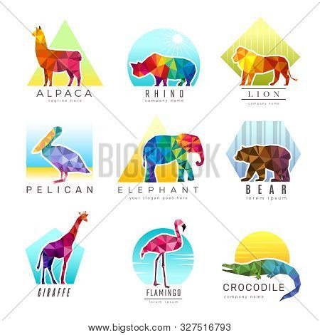 Animals Logo. Zoo Low Poly Triangular Geometric Symbols Fo Different Animals Origami Colored Busines